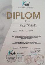 Ausbildung: 2002 Fußpflegeausbildung (Chiropodie) VITAL Kosmetikakademie
