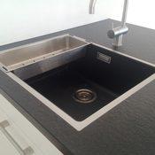 Privat - Küchenarbeitsplatte Gabbro Nero Assoluto Z. Oberfläche patiniert Spüle bündig