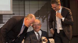 Deutscher Mittelstandspreis 2016 der MIT mit Peer Steinbrück Wolfgang Schäuble Dr. Carsten Linnemann