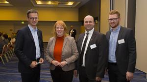 Christina Schwarzer trifft im Mercure Hotel Dr. Carsten Linnemann CDU MdB, Olaf Schenk MIT Neukölln und Christopher Förster CDU Neukölln/Britz