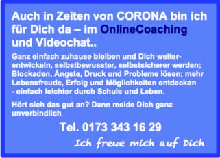 Onlinecoaching für Jugendliche und junge Erwachsene, die Zeit zuhause während Corona clever und sinnvoll nutzen und sich persönlich weiterentwickeln, Verena Heinzerling Kinder und Jugendcoach, www.die-jugendpotenzialcoach.de