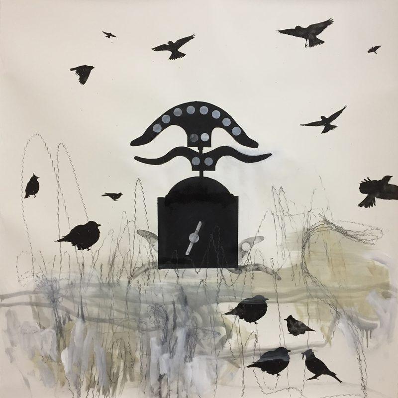 """140 x 140 Mischtechnik/Papier - """"Miroir aux alouettes"""", 2017"""