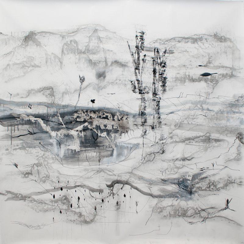 """150 x 150 Mischtechnik/Papier - """"paysage"""", 2012"""