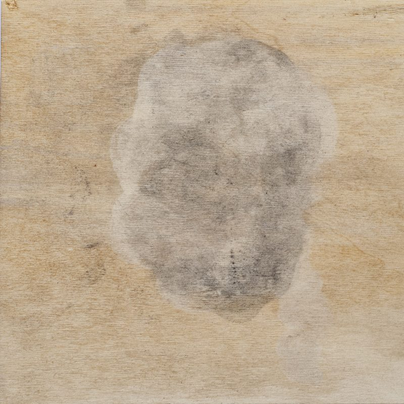"27,8 x 28 x 4, Mischtechnik/Holz, ""head"", 2019"