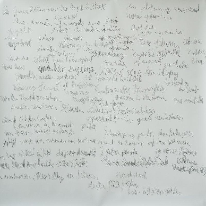 "150x150, Mischtechnik/Papier, ""Textunschärfenpoesie"", 2019"