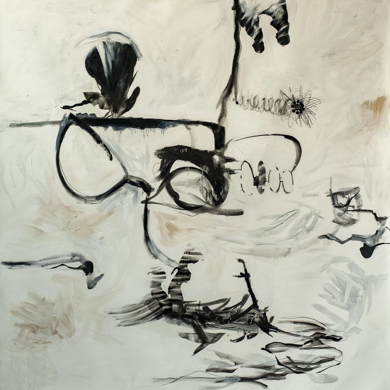 "160x160, Öl/Leinwand, ""broken glasses"", 2019"