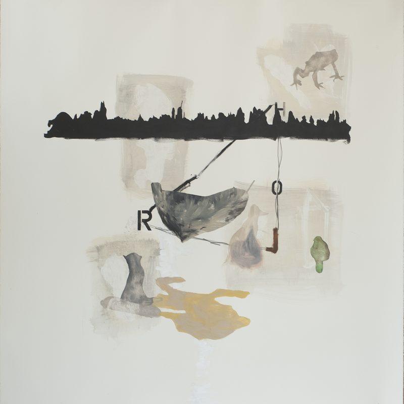 """140 x 140 Mischtechnik/Papier - """"paysage après Böcklin"""", 2018"""
