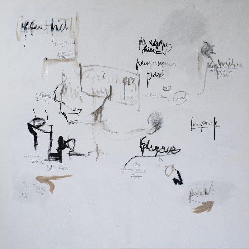 """170 x 170, Mischtechnik/Leinwand, """"Nottext-Textnot"""", 2019"""