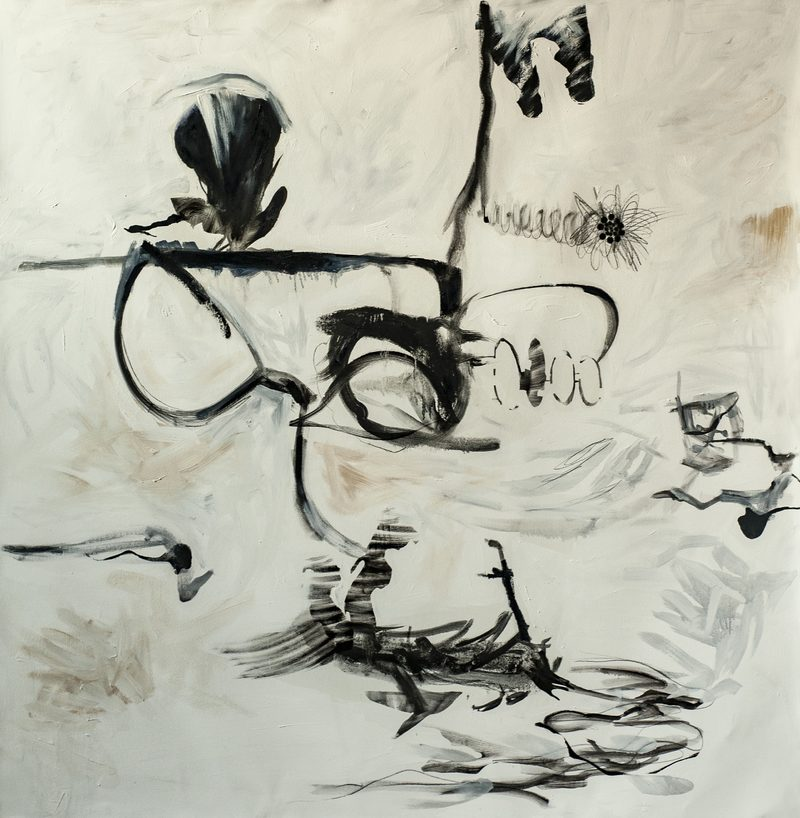 "160x160, Öl/Leinwand, ""broken glasses"", 2019"
