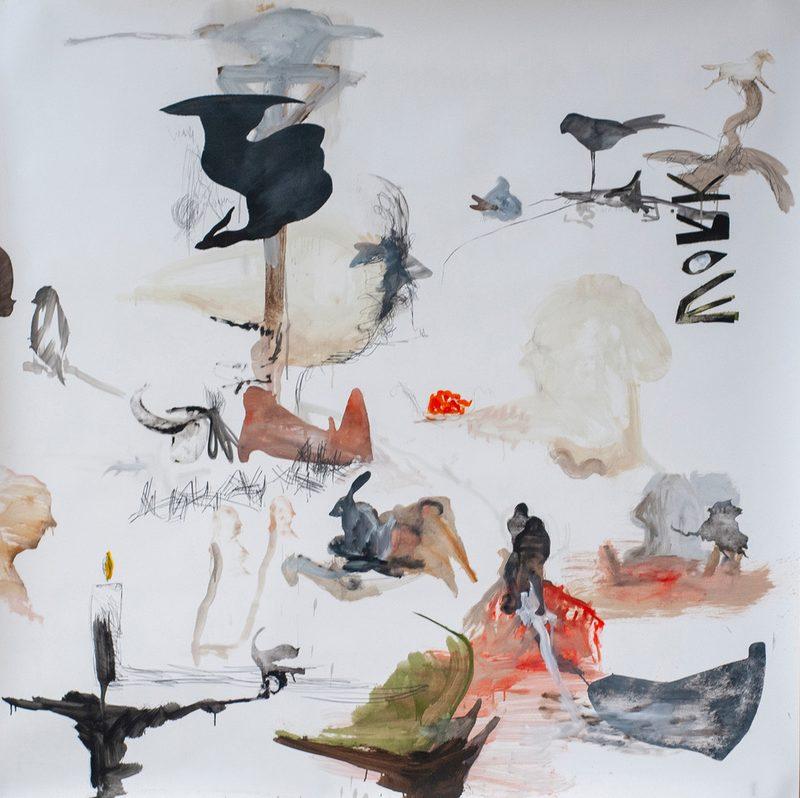 """150x150, Mischtechnik/Papier, """"work"""", 2019"""