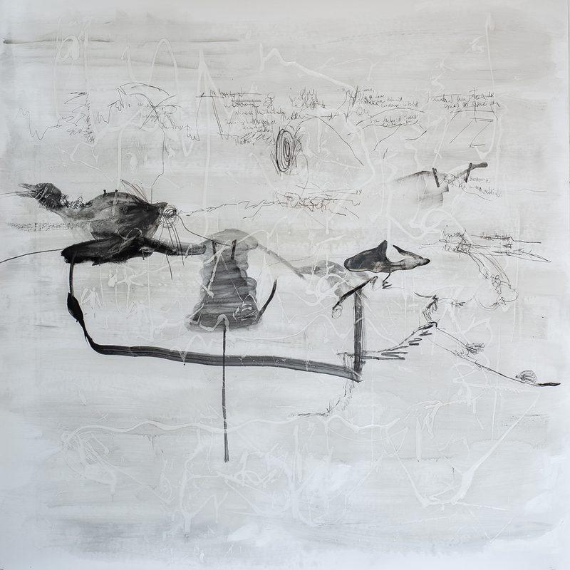 """150x150, Mischtechnik/Papier, """"Gans die Ente"""", 2019"""