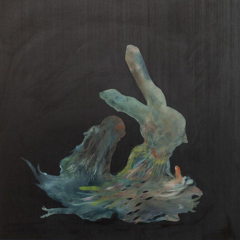 """50x50, Öl/Holz, """"nous sommes hysterique"""", (2.Triptychon),2020"""