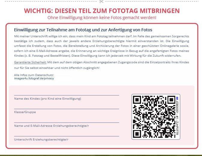 Formular zur Einwilligung der Teilnahme an einem Kita Fototag, den Eltern unterzeichnen müssen, um Kinder fotografieren zu können